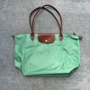 Longchamp Le Pliage green nylon tote